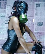 Indian goddess wearing a gas mask