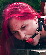 Redhead in humiliating outdoor hogtie
