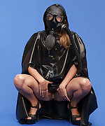 Helen with her gas mask and latex dress
