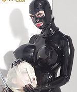 Latex straightjacket, cuffes, latex hood