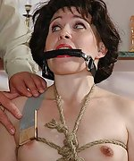 Brunette roped, bit-gagged and fucked