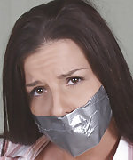 Secretary gets roped and tape-gagged