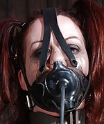 Locked, cuffed, tightly gagged and forced to cum
