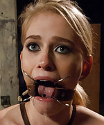 Beautiful and innocent blond in extreme bondage sex