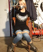 Dutch girl chair-tied, mouth-taped, struggling