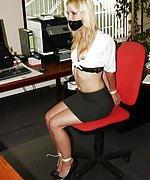 Secretary overpowered, bound, mouth-stuffed and tape-gagged