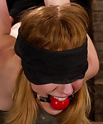 Bound in a face down bow tie, ball-gagged, tits-pegged
