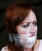 Tied to the chair, tightly gagged, tortured & teased