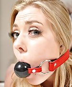 Naked blondie bound on the bed and ball-gagged