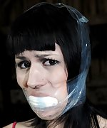 Hardly cuffed, tightly gagged, used by her master