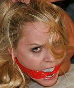 Barra gets overpowered, hogtied, mouth-stuffed, cleave-gagged