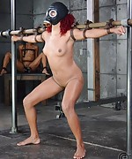 Sexy slut strapped, gasmasked, trained and teased