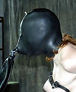 Fixed, locked, hooded, tits-clamped, face-fucked