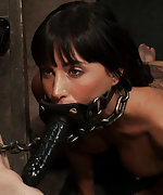 Brunette is chained, trained, dildoed and used