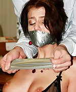 Secretary gets captured, bound and tape-gagged