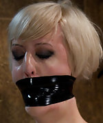 Busty blonde gets severely bound, tightly gagged & abused
